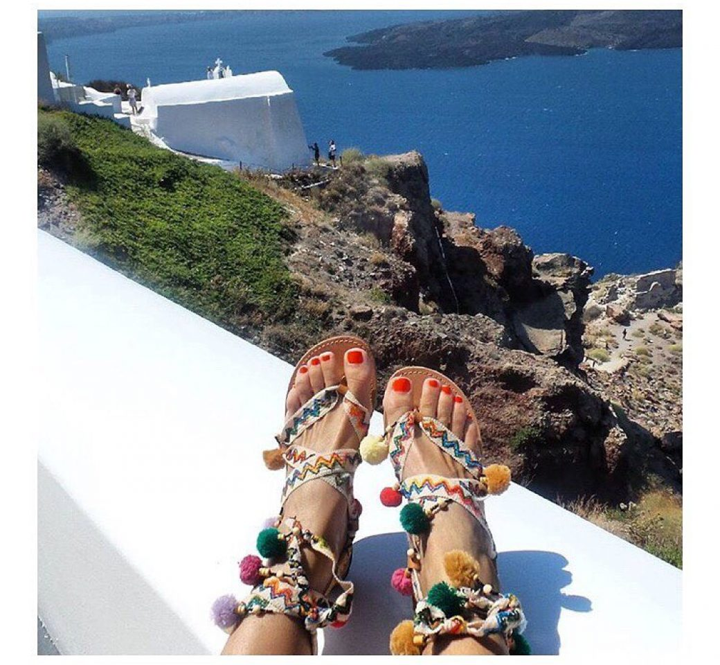 SANDALAKI view in santorini Greece (handcrafted sandals)