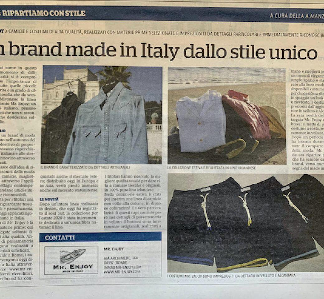 Sneak peek at La Repubblica announcing the Mr. Enjoy E-commerce